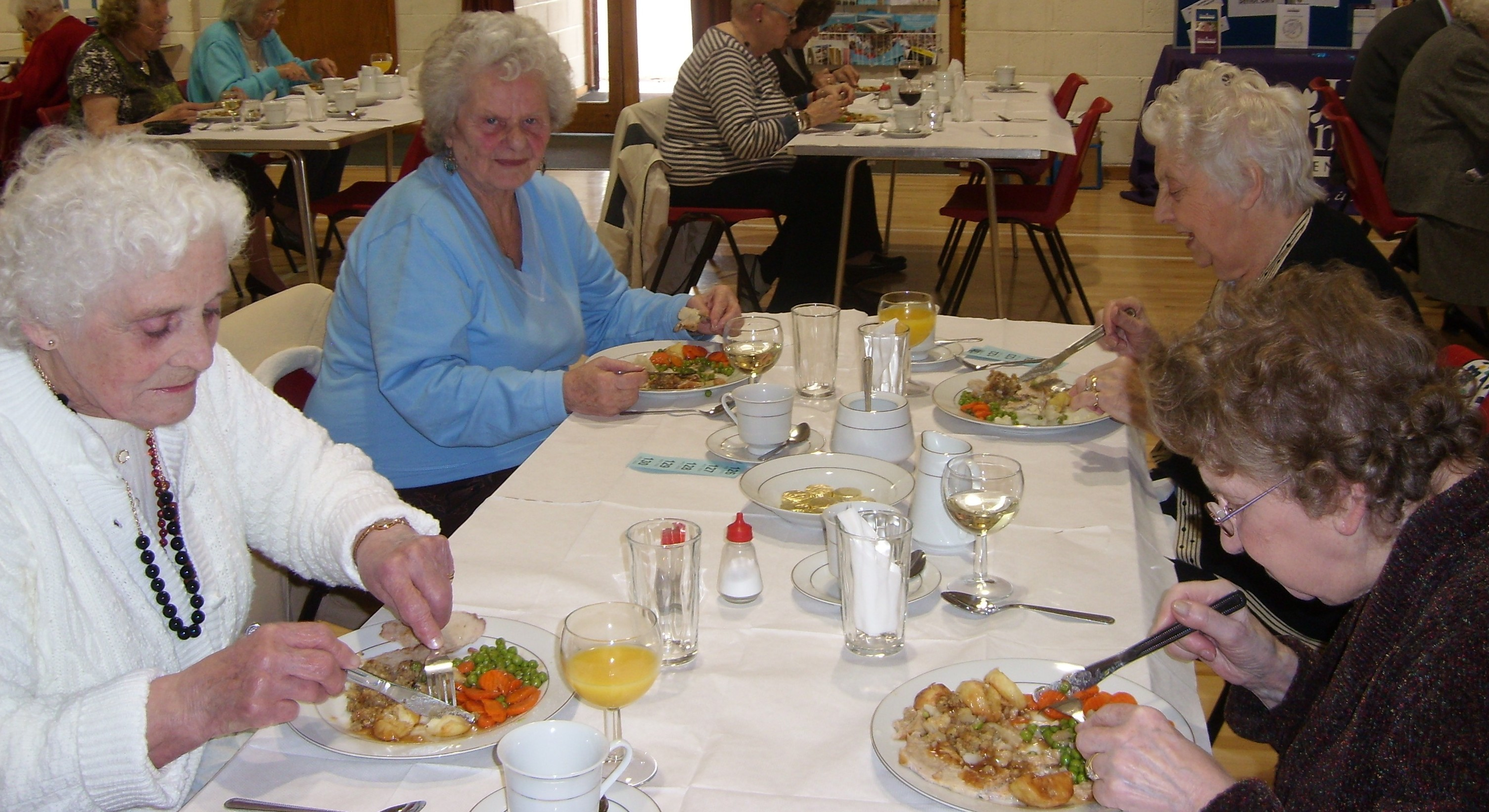 26 elderly guest from at the roast dinner organized by Home Instead Senior Care on the launch of their East Thrisk franchise