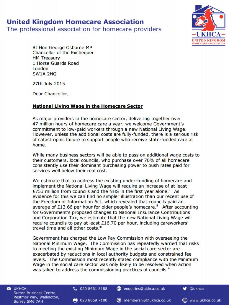 Open Letter from the UKHCA to the Chancellor of the Exchequer
