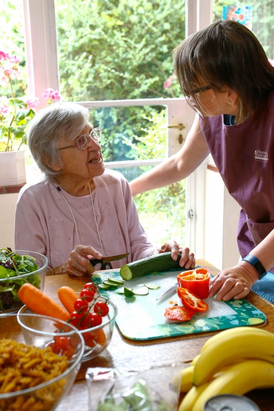 Home Instead CAREgiver providing personal and nutritional care to an elderly client