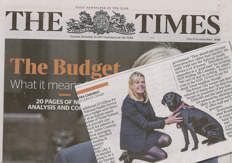 The Times newspaper cover with Home Instead's owner Anitra Camargo's comments and image