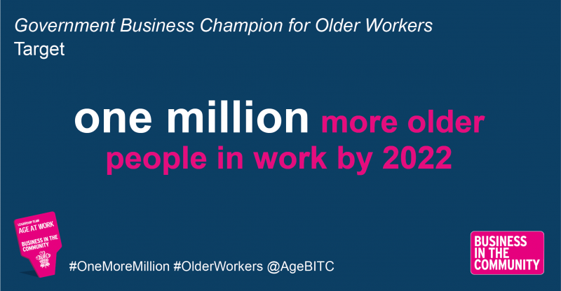 'One million more older people in work by 2022' logo