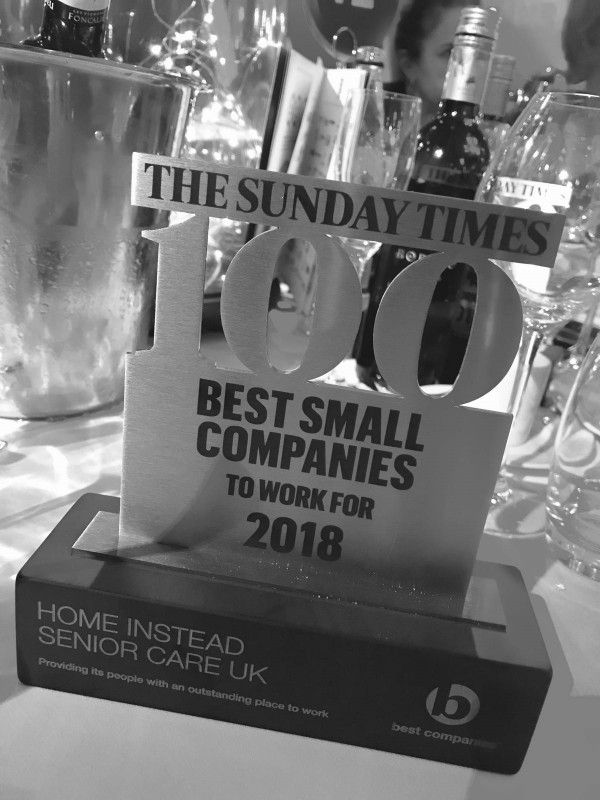 Home Instead Senior Care trophy from The Sunday Times Best Small Companies to work for 2018 award