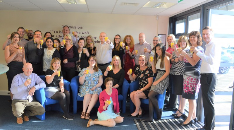 Home Instead Senior Care team having a toast after being double-nominated for the LaingBuisson Awards 2017