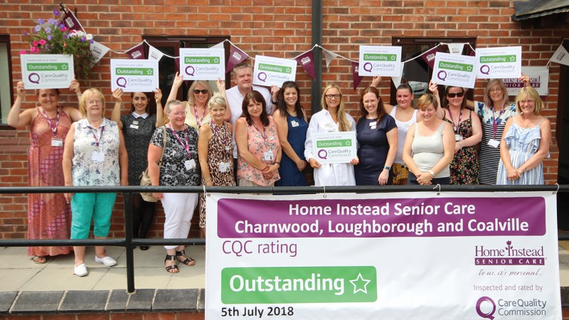 Home Instead Charnwood, Loughborough and Coalville office team holding their CQC Outstanding rating